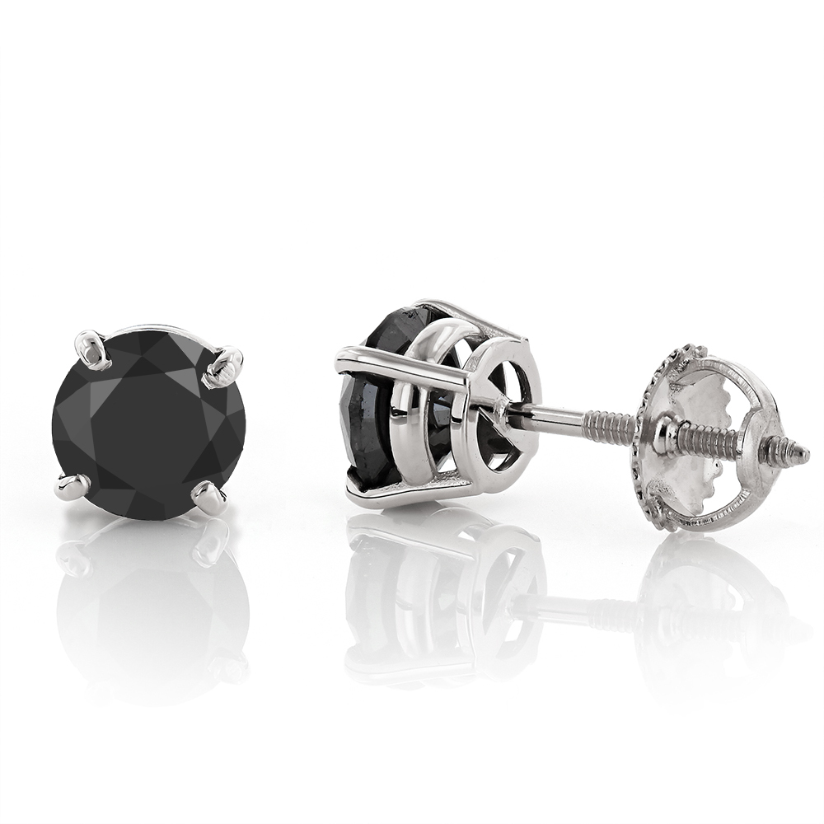 14K Gold Black Diamond Stud Earrings Prong Set 2.00ct
