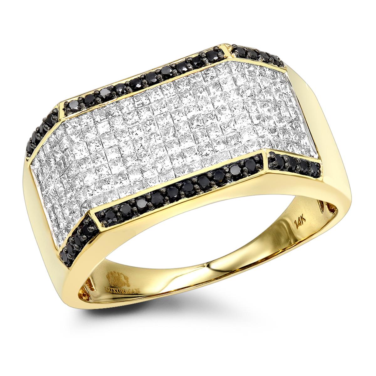 14K Gold Black White Round Princess Diamond Ring for Men 2.2ct by Luxurman
