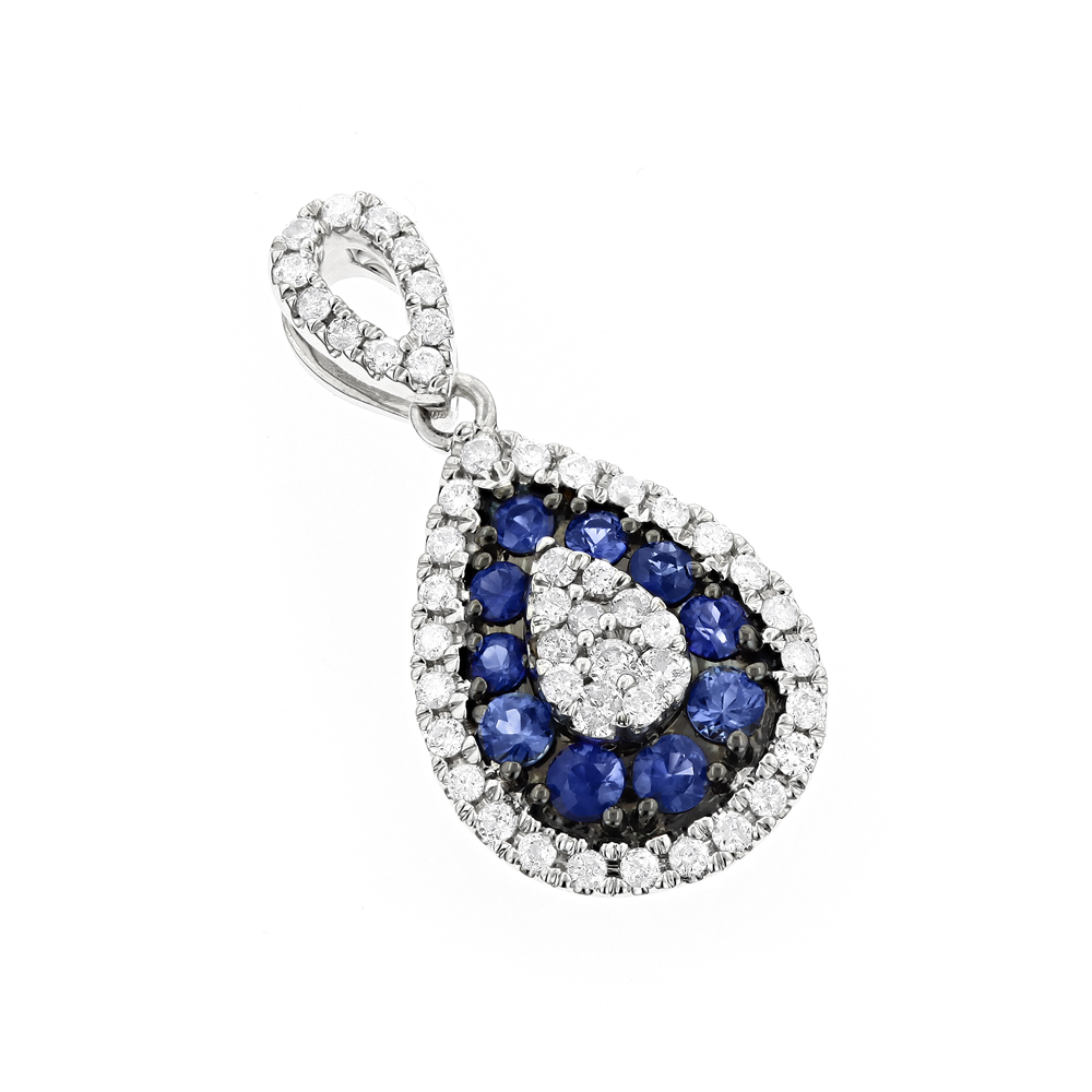 14K Gold Pear Shape Blue Sapphire and Diamond Drop Pendant for Women 1tcw
