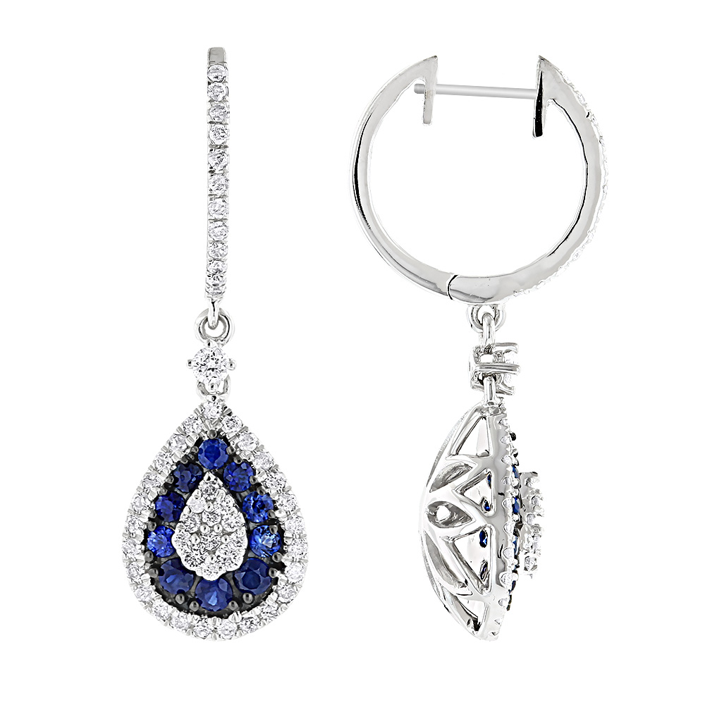 14K Gold Blue Sapphire and White Diamond Drop Earrings for Women 2 Carats