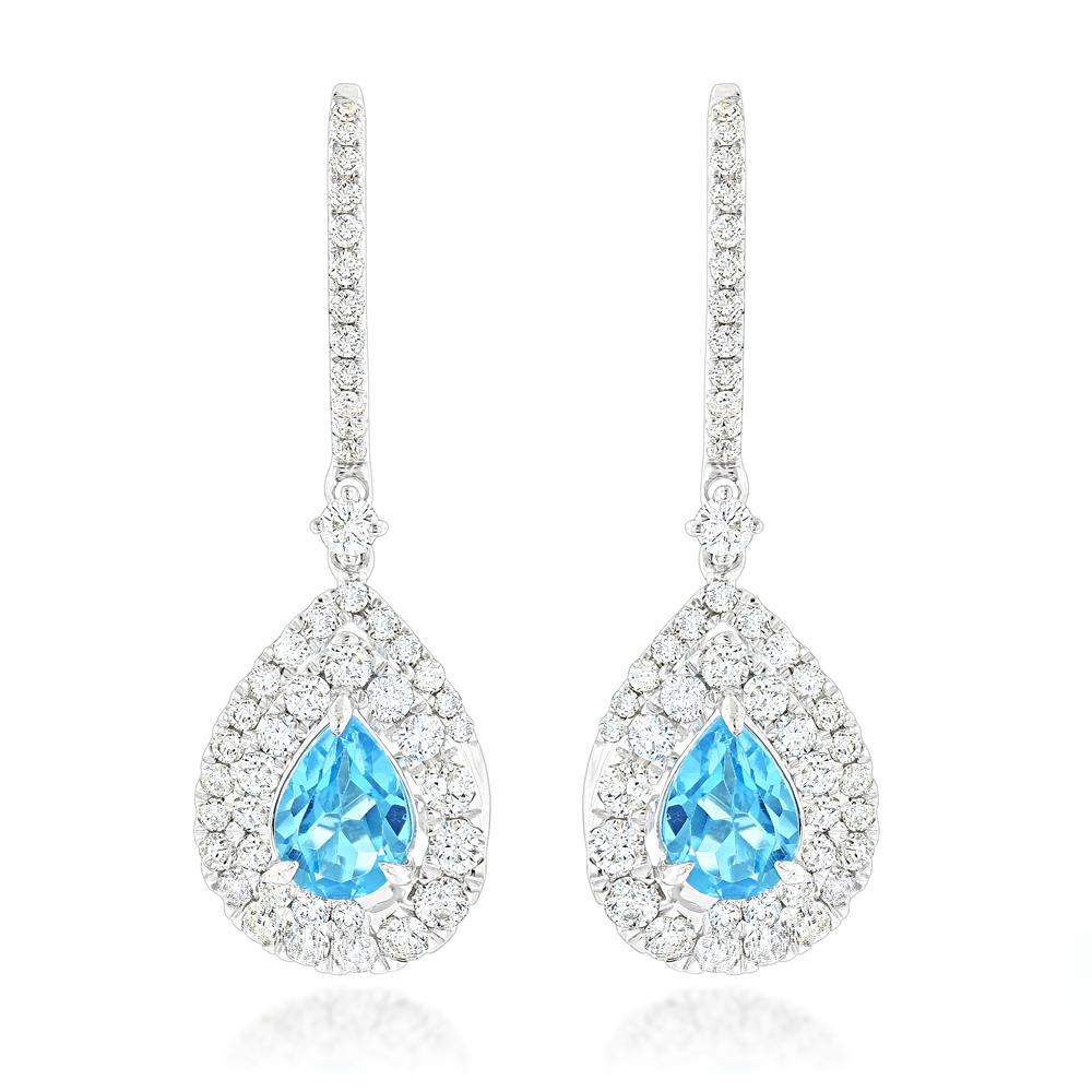 14K Gold Blue Topaz Diamond Drop Earrings for Women 1.66ct by Luxurman