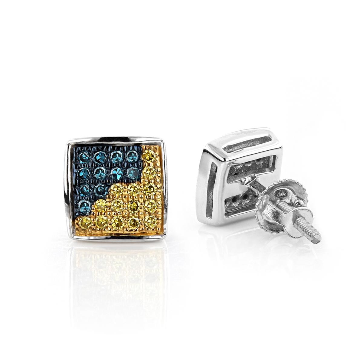 14K Gold Blue Yellow Diamond Earrings 0.19ct