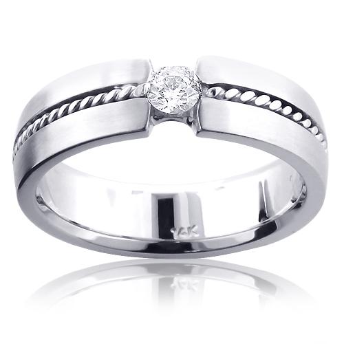 14K Gold Braided Diamond Wedding Band for Men 0.13ct