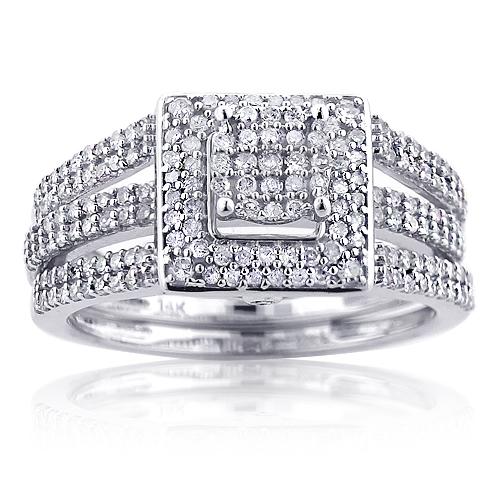 14K Gold Bridal Diamond Engagement Ring Set 0.99ct