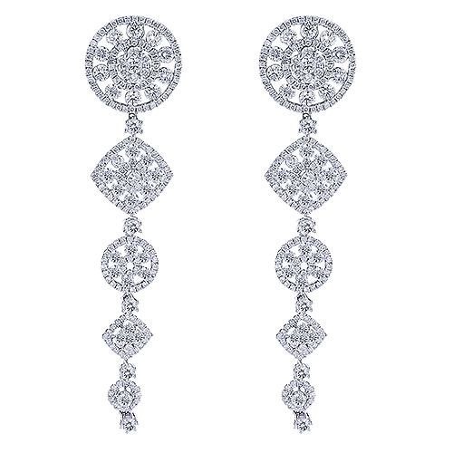14K Gold Cascade Dangle Diamond  Drop Earrings 6.96ct