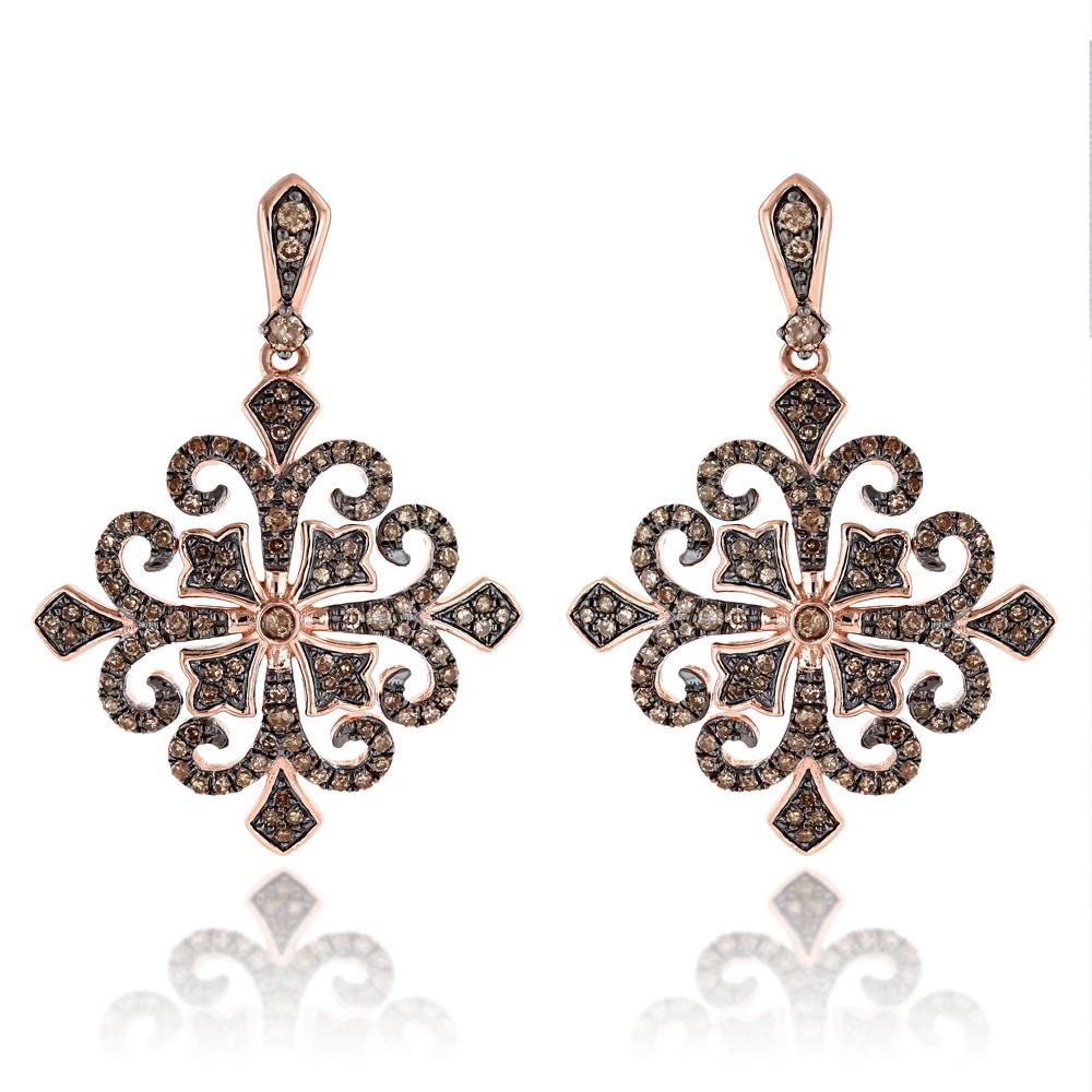 14K Gold Champagne Diamond Earrings for Women 1.25ct