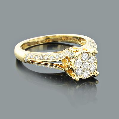 14K Gold Cluster Diamond Engagement Ring 1.16ct
