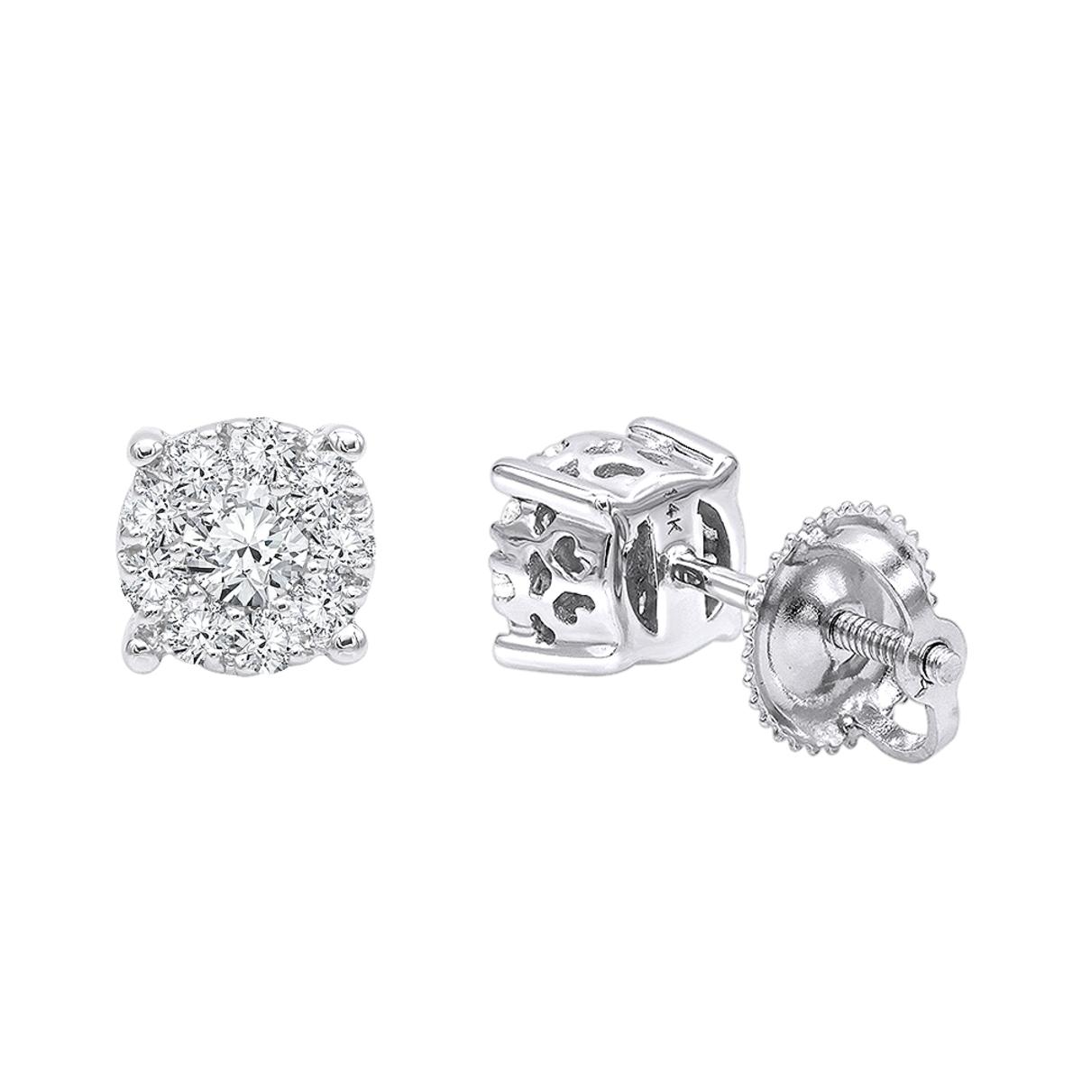 14K Gold Cluster Diamond Stud Earrings 0.35ct by Luxurman