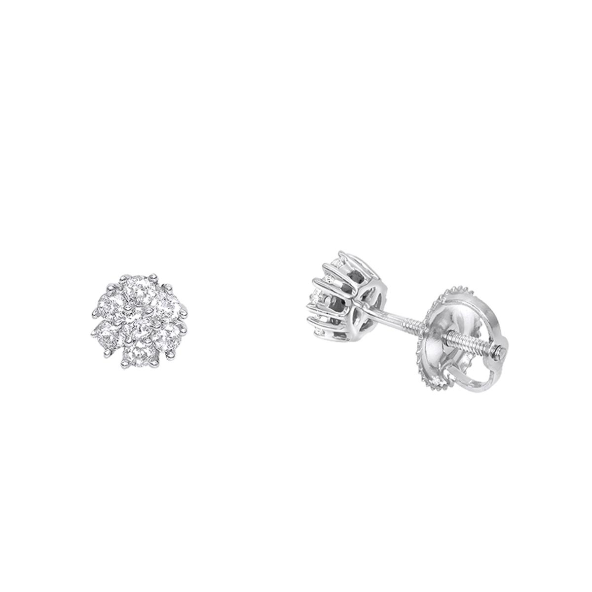 14K Gold Cluster Flower Diamond Stud Earrings for Women 0.25ct by Luxurman