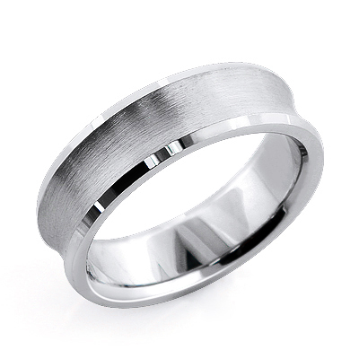 14K Gold Concave Mens Wedding Band