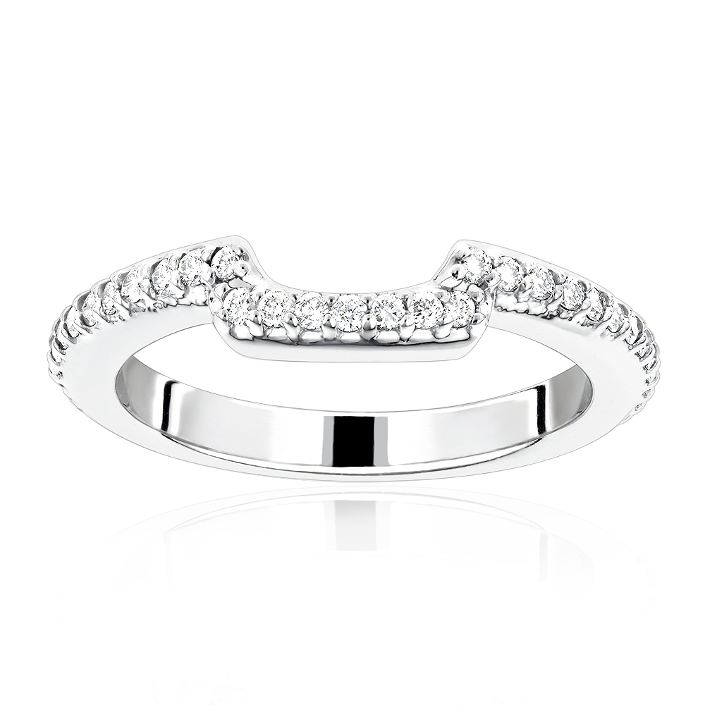 14K Gold Curved Diamond Wedding Band for Women 0.5ct