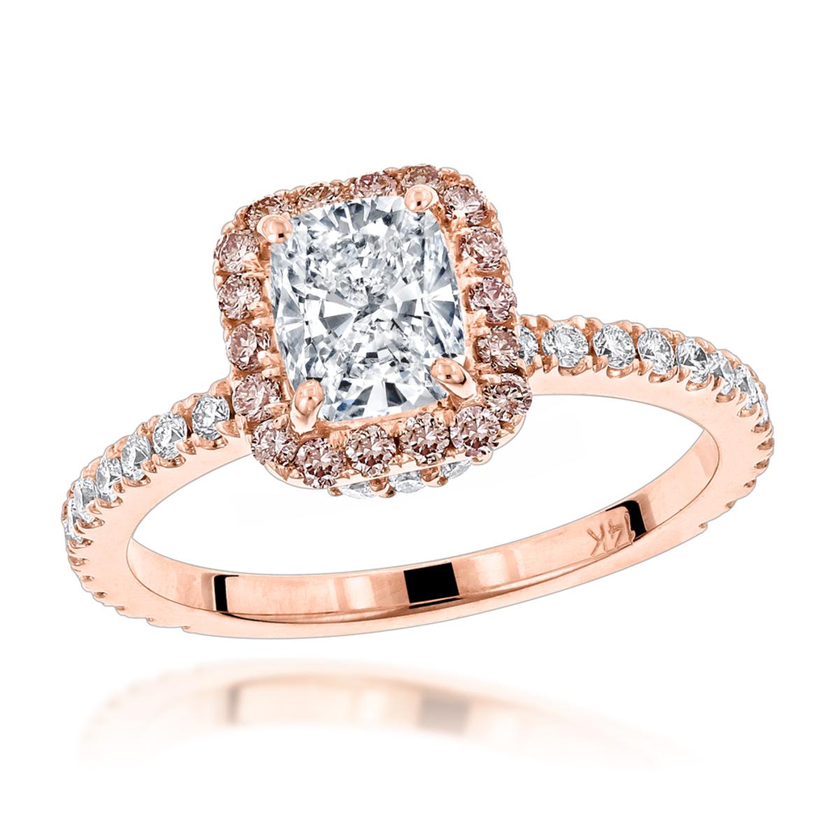 14K Gold Cushion Cut White Pink Diamond Halo Engagement Ring 2.1ct