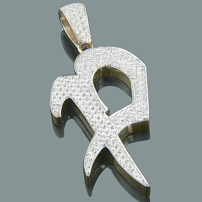 14k gold alphabet custom made initial diamond letter pendant 495ct mozeypictures Images