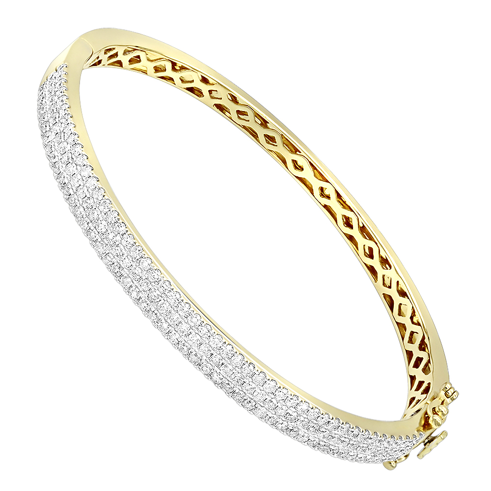 14K Gold Designer 2 Carat Diamond Bangle Bracelet for Women by ...