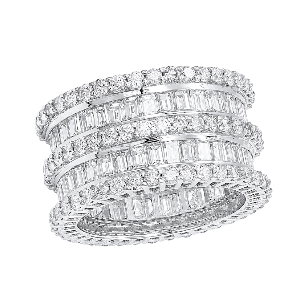18K Gold Designer Baguette Round  Diamond Eternity Ring 7.8ct by Luxurman
