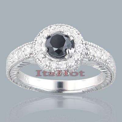 14K Gold Designer Black Diamond Engagement Ring 1.39ct