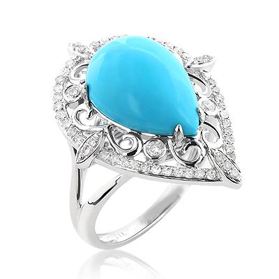 14K Gold Designer Diamond and Turquoise Ring 4ct