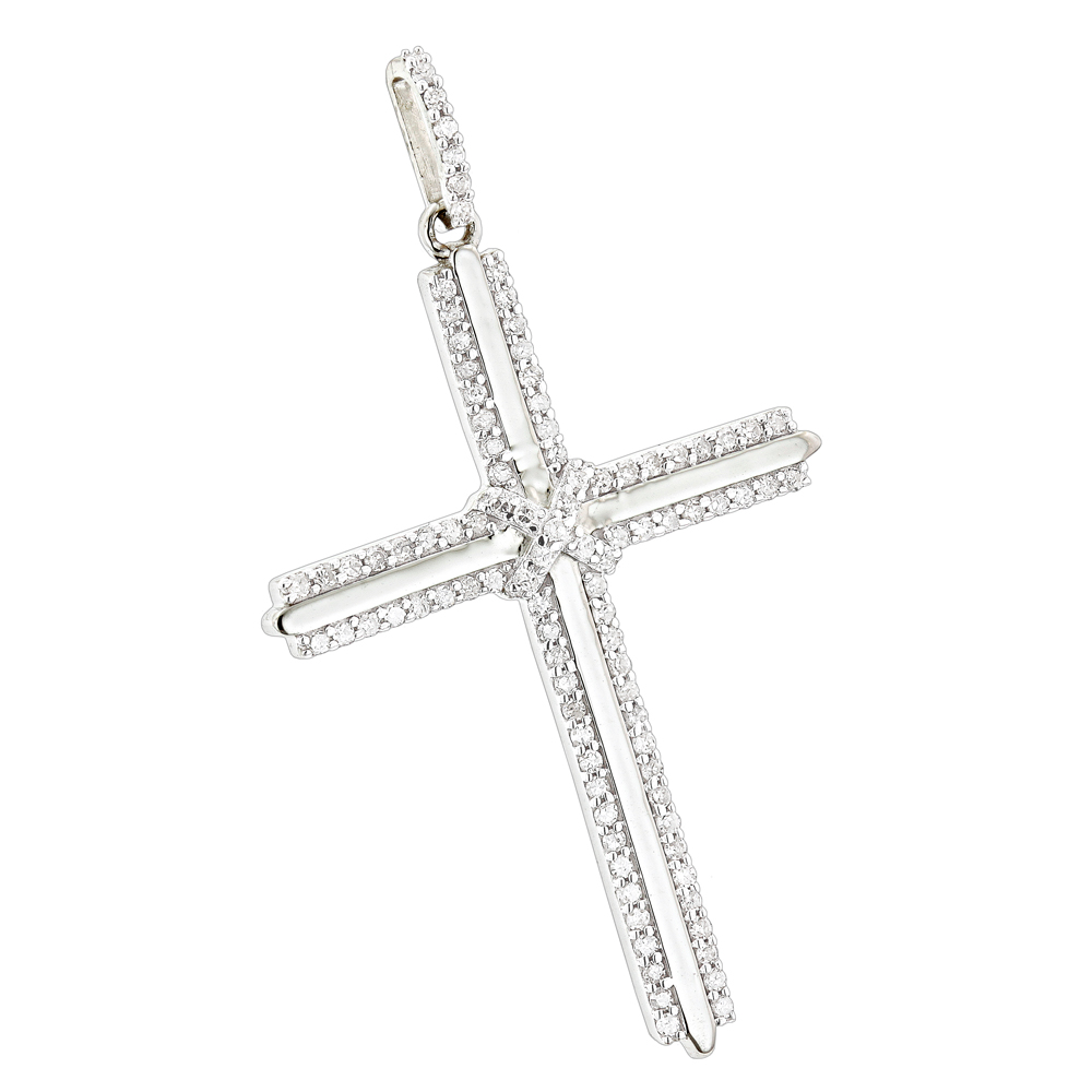 14k gold designer diamond cross pendant 042ct audiocablefo