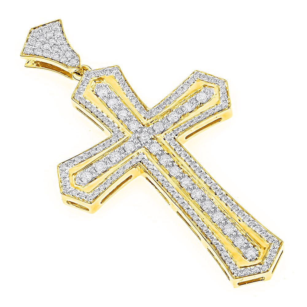 14k gold designer diamond cross pendant for men by luxurman 25ct mozeypictures Gallery