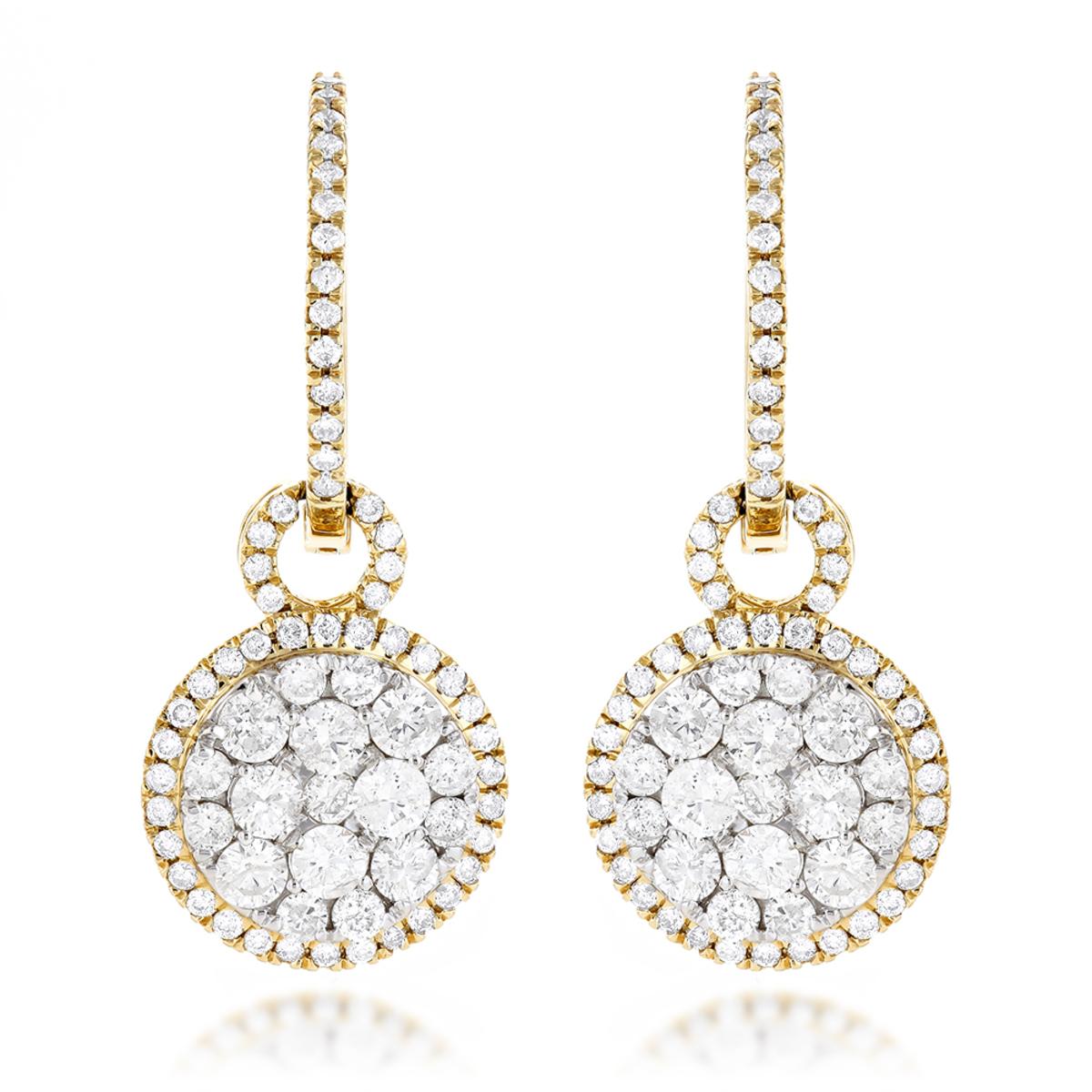 14K Gold Designer Diamond Earrings 2.04ct Clusters