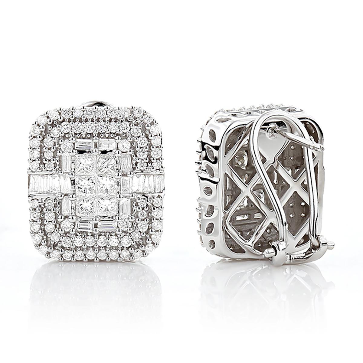 14K Gold Designer Diamond Earrings Multi-Tier 2.48ct