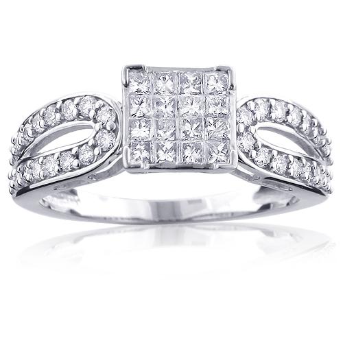 14K Gold Designer Diamond Engagement Ring 0.99ct