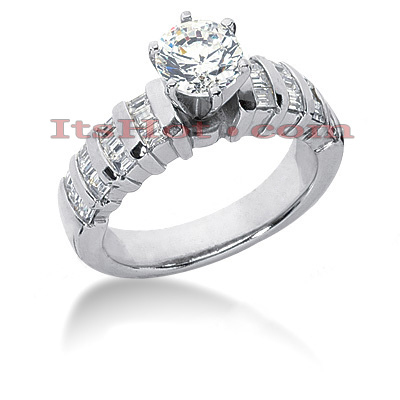 14K Gold Designer Diamond Engagement Ring 1.22ct