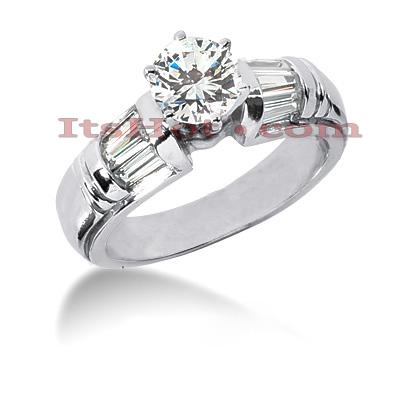 14K Gold Designer Diamond Engagement Ring 1.34ct