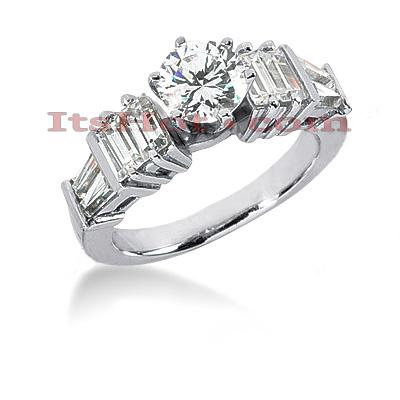 14K Gold Designer Diamond Engagement Ring 1.78ct