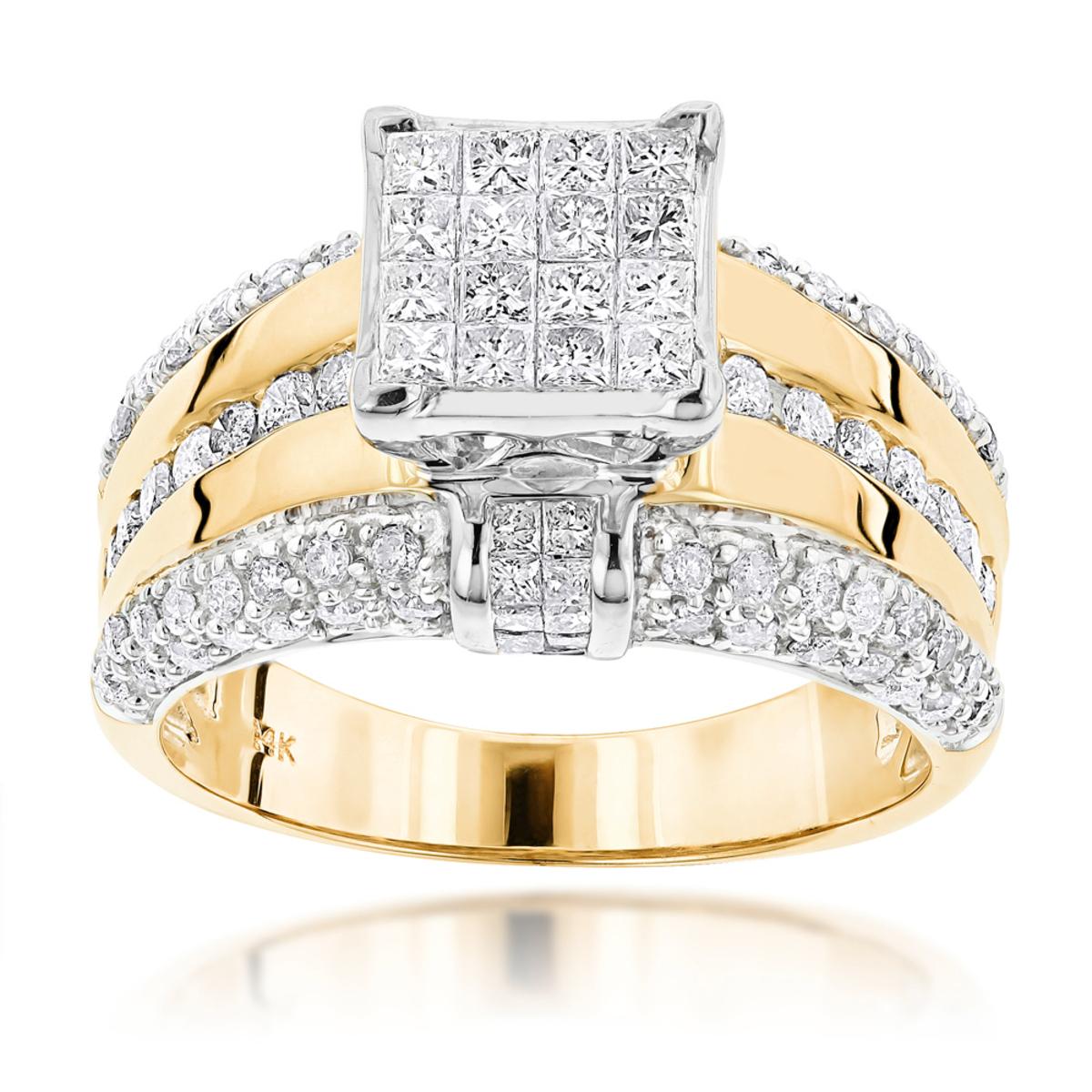 14K Gold Designer Diamond Engagement Ring 1.88ct
