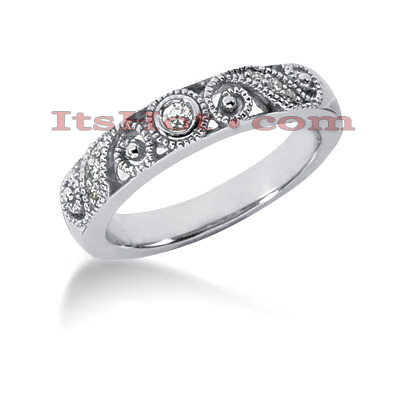 Thin 14K Gold Designer Diamond Engagement Ring Band 0.09ct