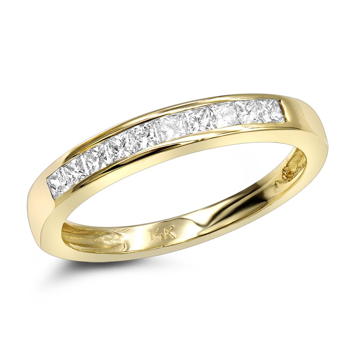 Thin 14K Gold Princess Cut Diamond Wedding Ring Ladies Band 0.33ct