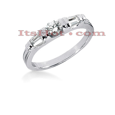 Thin 14K Gold Designer Diamond Engagement Ring Band 0.49ct