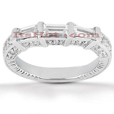Thin 14K Gold Designer Diamond Engagement Ring Band 0.89ct