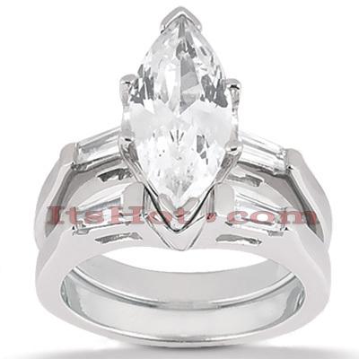 14K Gold Designer Diamond Engagement Ring Set 0.24ct