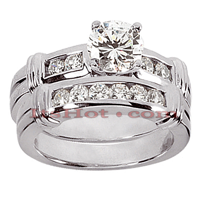 14K Gold Designer Diamond Engagement Ring Set 0.40ct