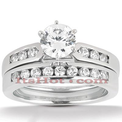 14K Gold Designer Diamond Engagement Ring Set 0.85ct