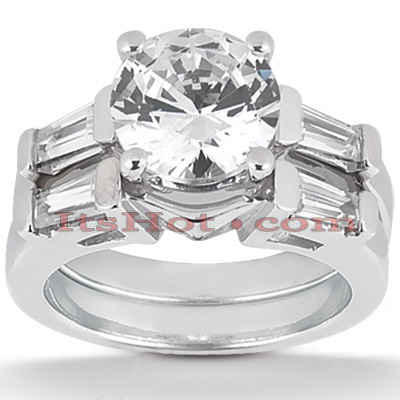 14K Gold Designer Diamond Engagement Ring Set 0.90ct