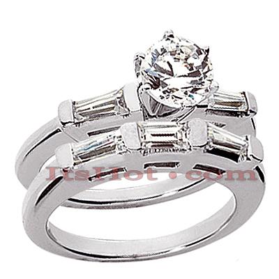 14K Gold Designer Diamond Engagement Ring Set 0.91ct