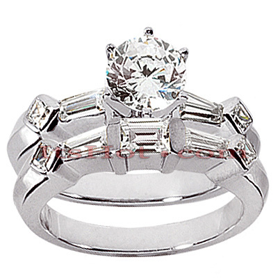 14K Gold Designer Diamond Engagement Ring Set 0.96ct