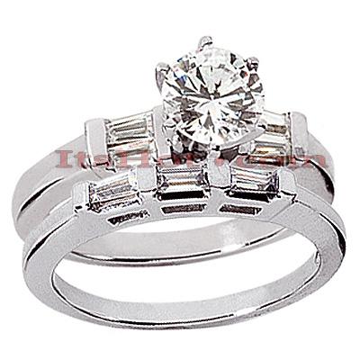 14K Gold Designer Diamond Engagement Ring Set 0.99ct