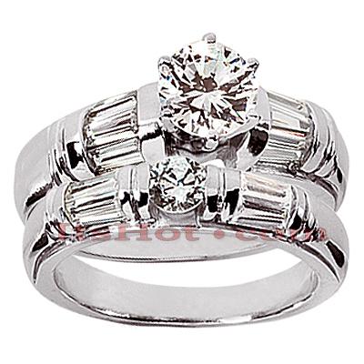 14K Gold Designer Diamond Engagement Ring Set 2.15ct