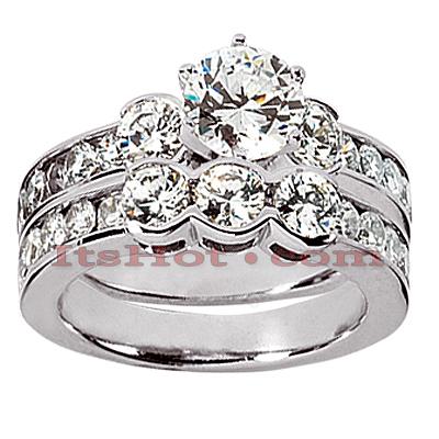14K Gold Designer Diamond Engagement Ring Set 2.50ct