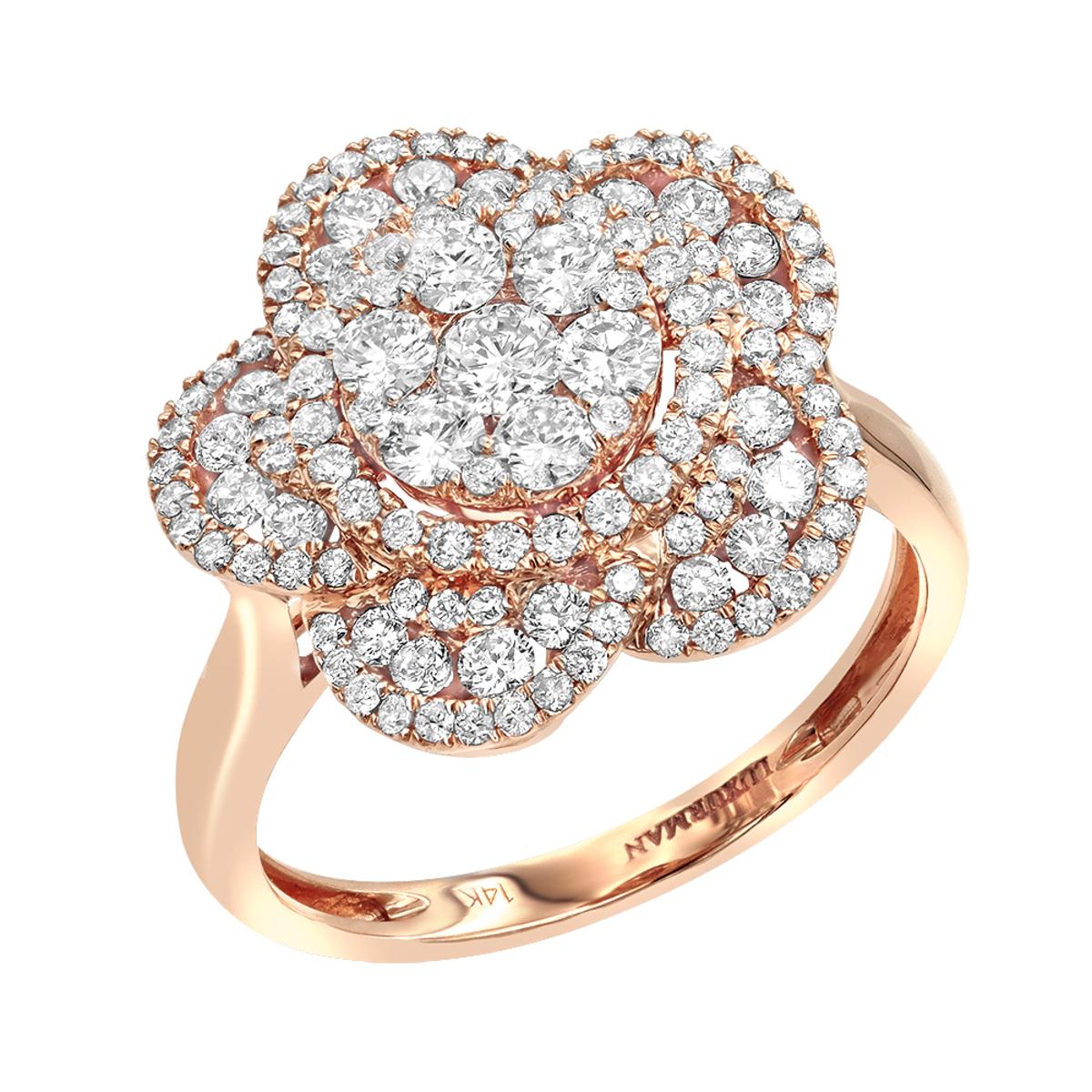 14K Gold Designer Diamond Flower Ladies Cocktail Ring 1.5ct by Luxurman