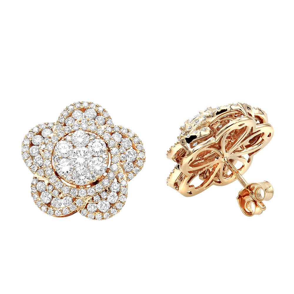14K Gold Designer Diamond Flower Ladies Stud Earrings 3ct by Luxurman