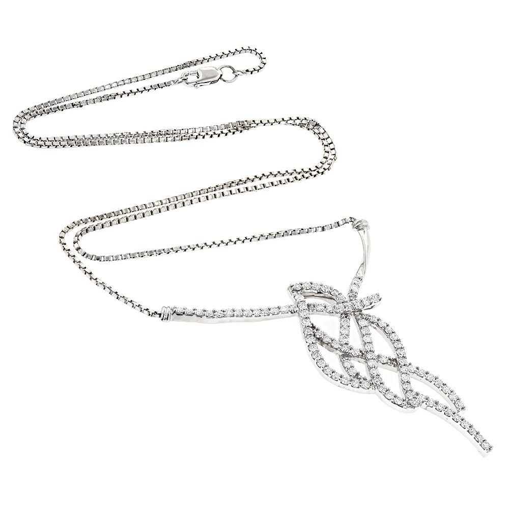 14K Gold Designer Diamond Necklace Round Diamonds 2 carats