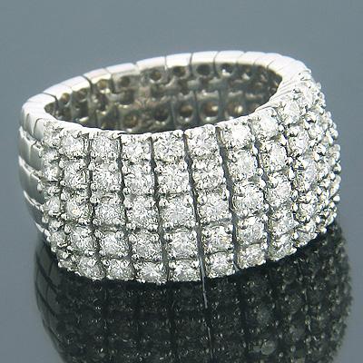 14K Gold Designer Diamond Ring Flexible Design 2.15ct