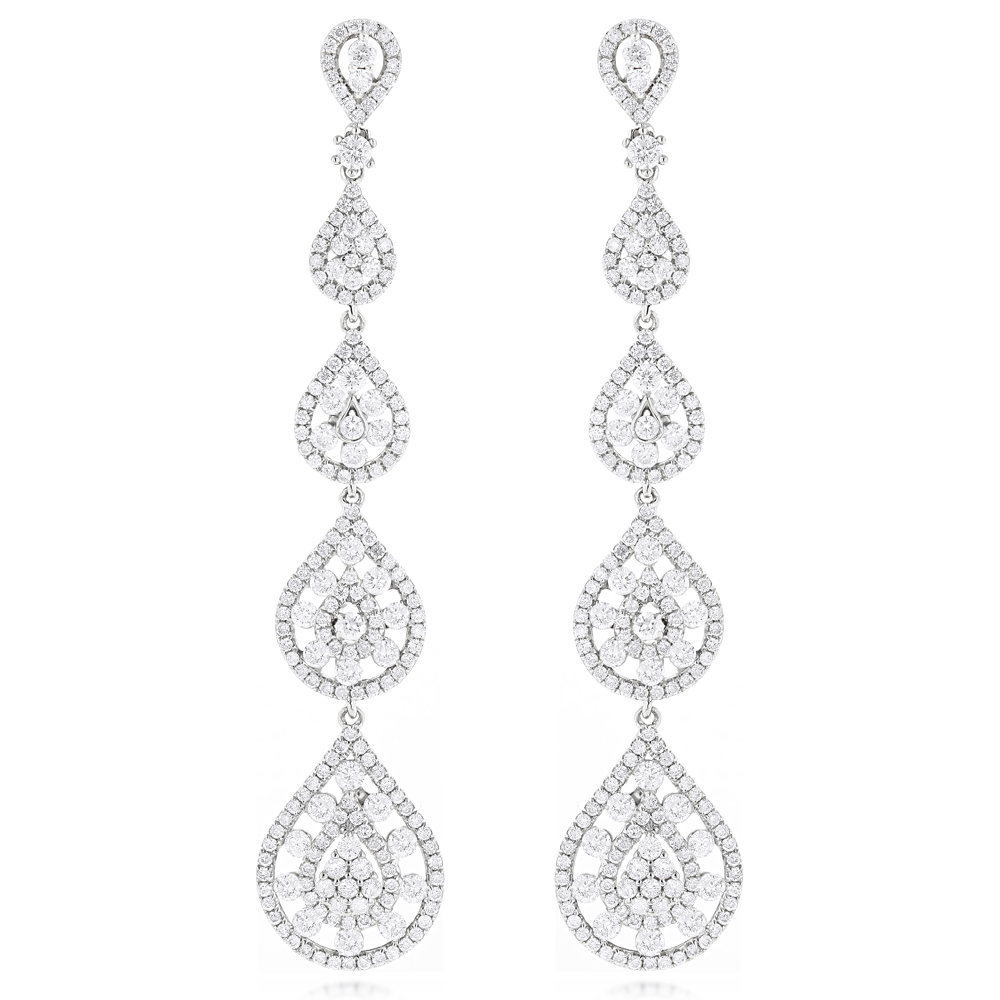 14K Gold Designer Drop Diamond Dangle Long Earrings 5.15ct