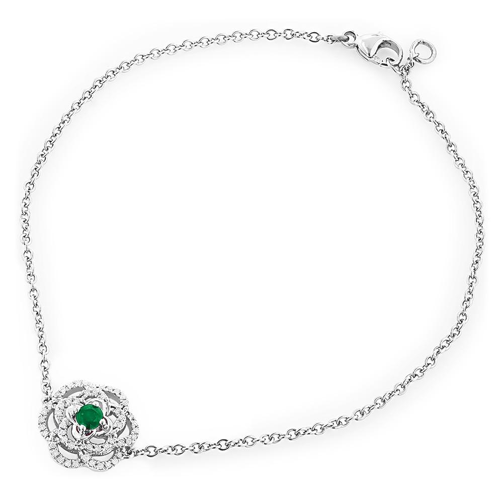 14K Gold Designer Emerald and Diamond Bracelet For Women Flower Design