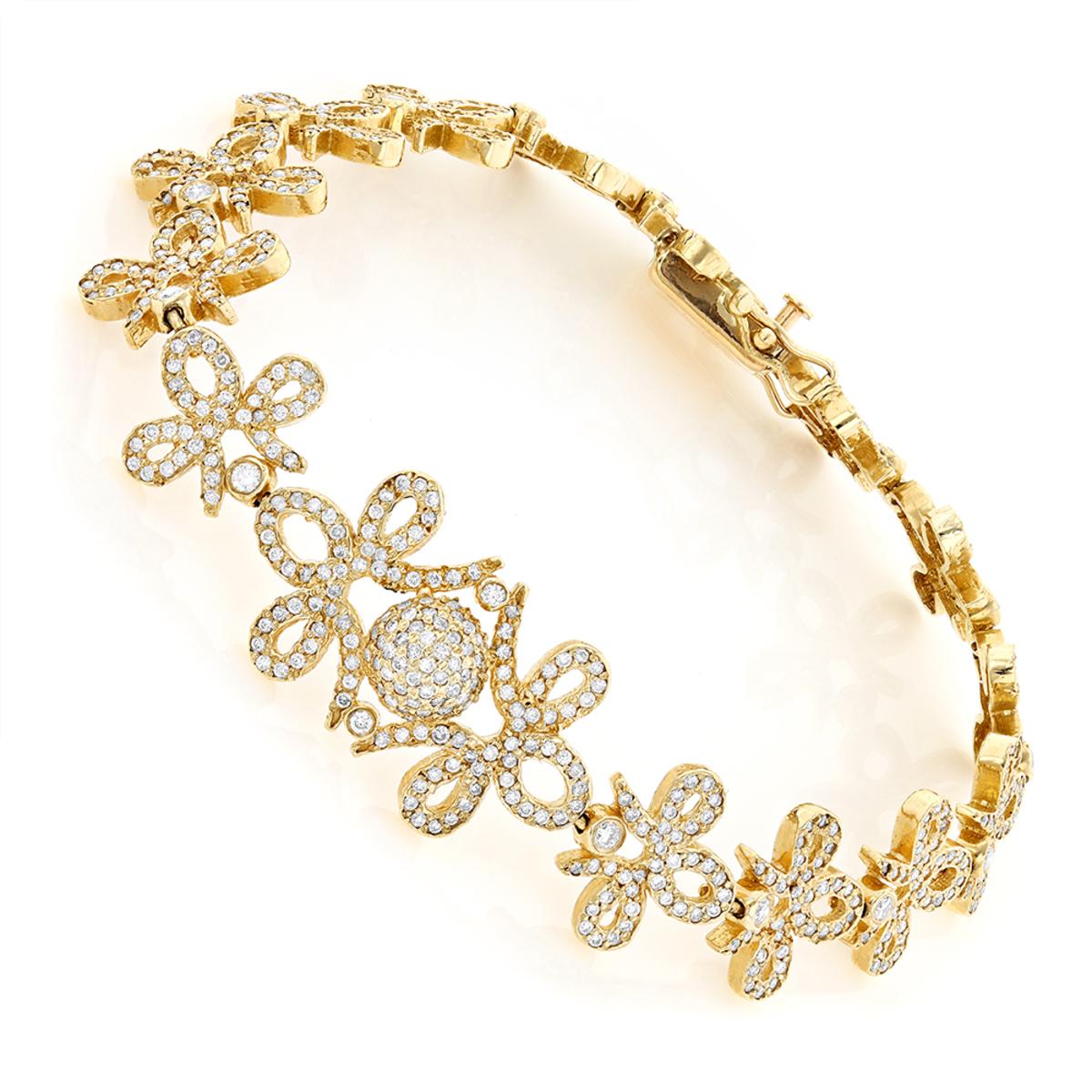 14K Gold Designer Ladies Diamond Bracelet 7.10ct